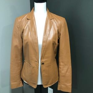 Kenneth Cole camel colored soft leather blazer